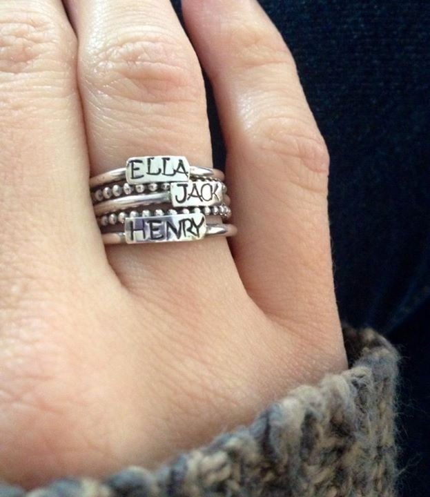 Stackable engraved rings with kids' names