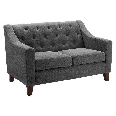"""Tufted Upholstered Loveseat $324 Dimensions: 33.75 """" H x 53.5 """" W x 34.0 """" D Seat Dimensions: 19.75 """" H x 43.5 """" W x 23.0 """" D"""