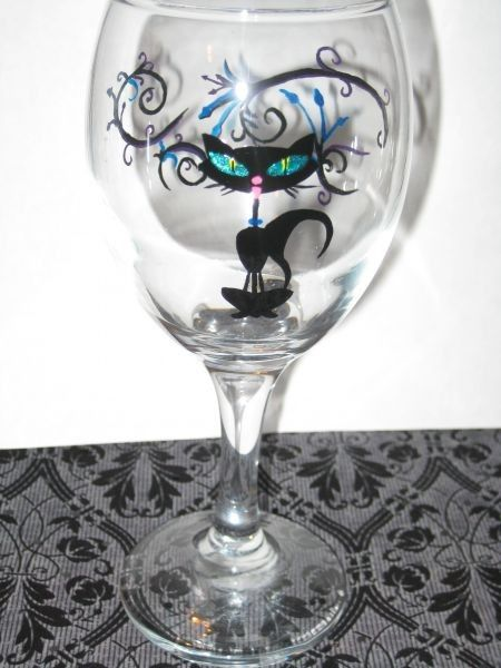 Snap Rockabilly Lucky Black Cat Hand Painted Wine Glass By Winoart