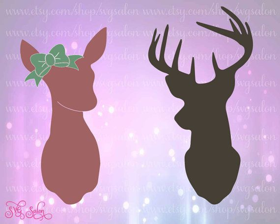 doe and buck deer silhouette cutting file    clipart set in