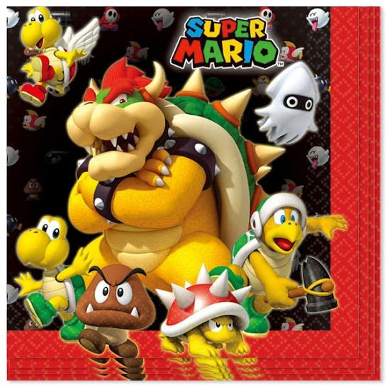Super Mario Paper Napkin 2 Ply 33cm Pack of 16 Pack of 16. Size: 33cm x 33cm approx Thickness: 2 Ply. Printed only on one side