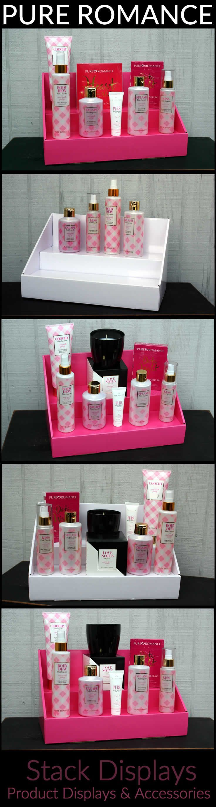 Pure Romance Vendor Display Ideas using two tiered cardboard displays from Stack Displays.