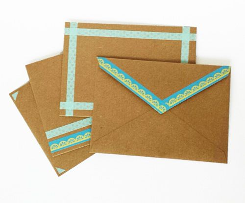 Make generic cards and envelopes coordinate with each other using washi tape. Cute. I like!