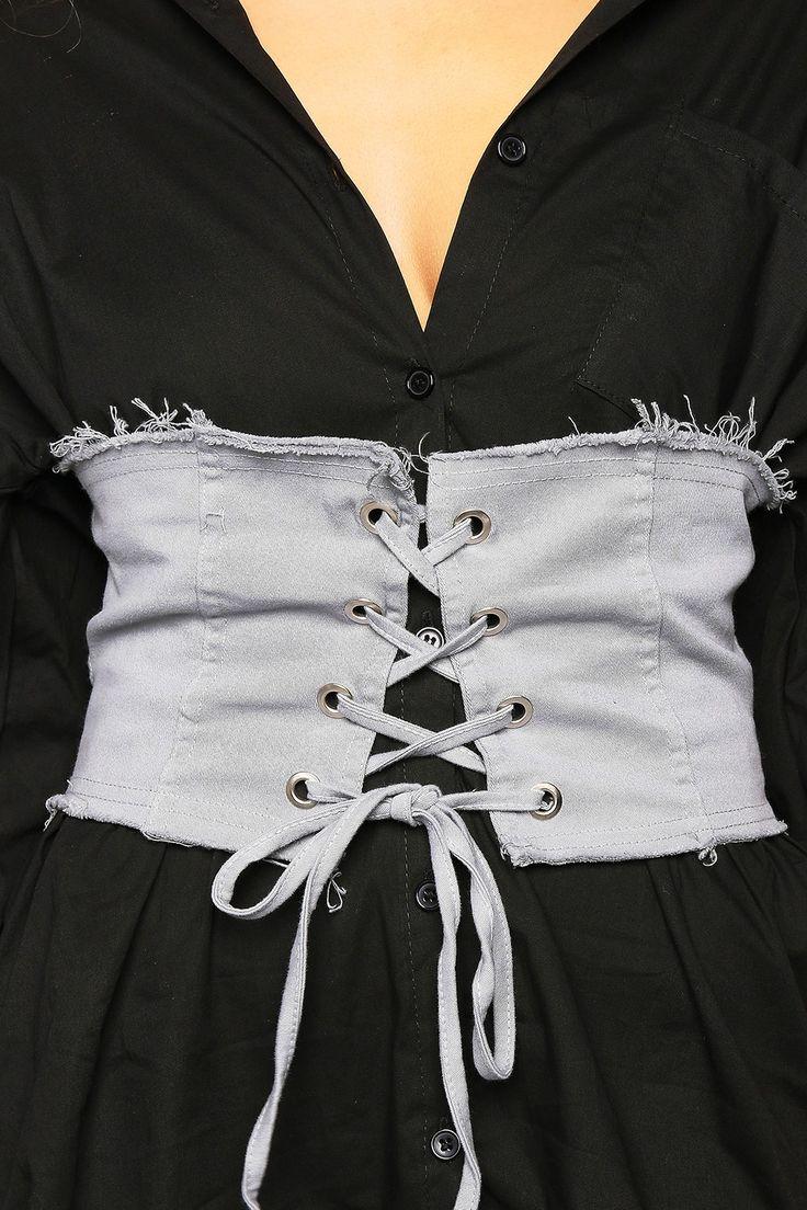 Grey Frayed Denim Corset Belt | LASULA