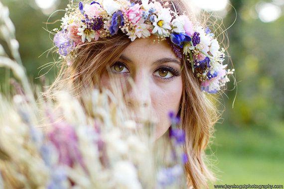 Dried Flower Bridal Crown Headpiece Floral hair wreath by Michele at AmoreBride Goddess Headdress wedding acessories pink blue garland halo