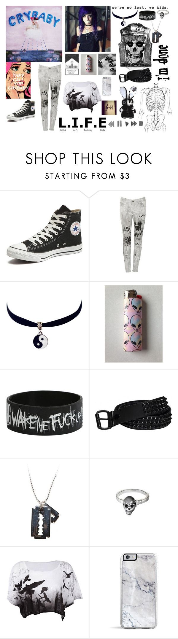 """""""CryBaby By Melanie Martinez"""" by lost-girl-reily ❤ liked on Polyvore featuring Converse, Alice + Olivia, Chicnova Fashion, Hot Topic and Delfina Delettrez"""