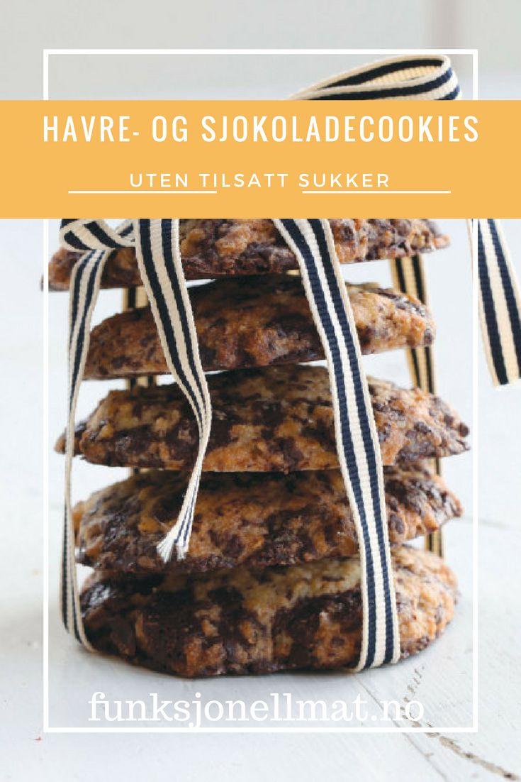 Havre- og sjokoladecookies - Funksjonell Mat | Oppskrift kjeks | Sjokolade oppskrift | Sukkerfri kjeks | Sukrin | Kjeks cookies | Cookies oppskrift | Bake sukkerfritt | Sunne kjeks | Sukkerfri kake | Kake oppskrift