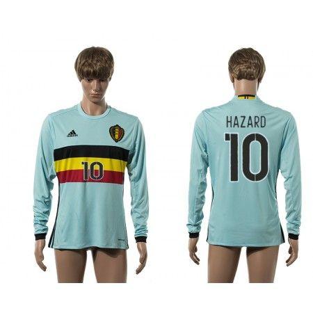 Belgien 2016 #Hazard 10 Udebanetrøje Lange ærmer,245,14KR,shirtshopservice@gmail.com