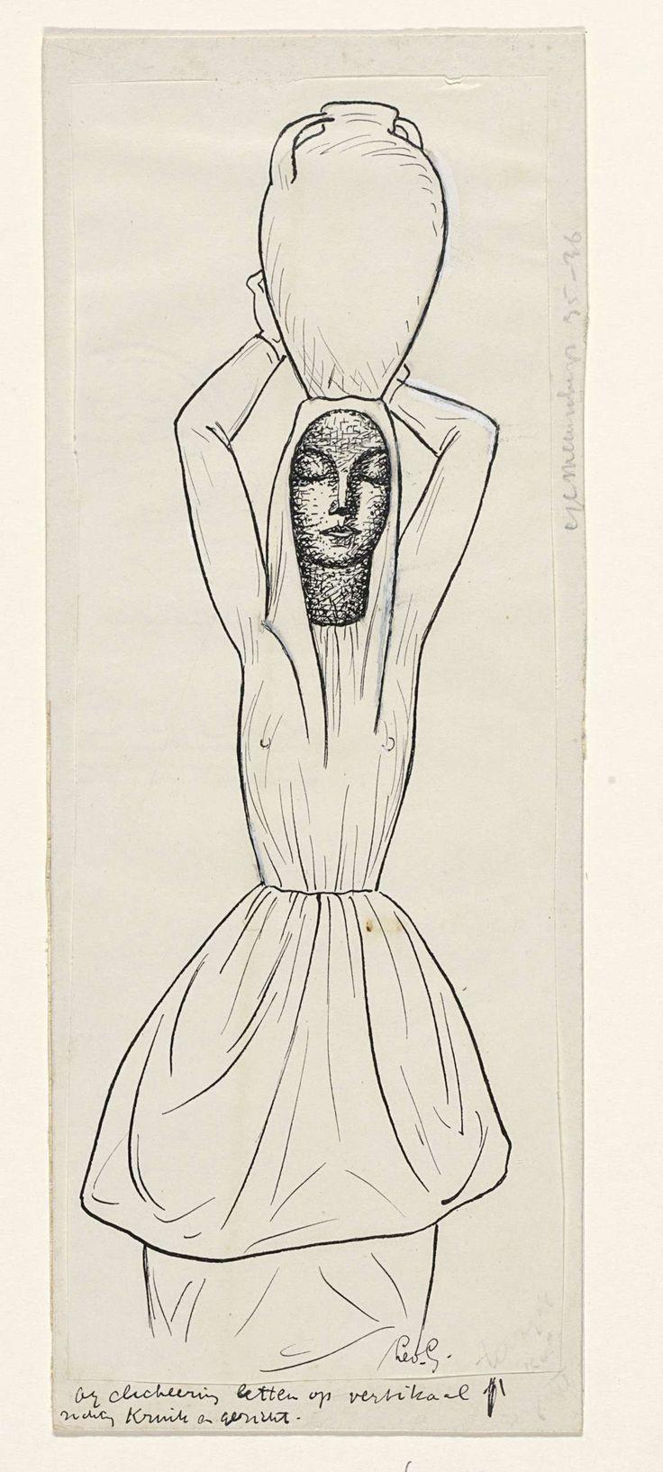Leo Gestel | Ontwerp voor een vignet: vrouw met kruik op het hoofd, Leo Gestel, 1891 - 1941 |