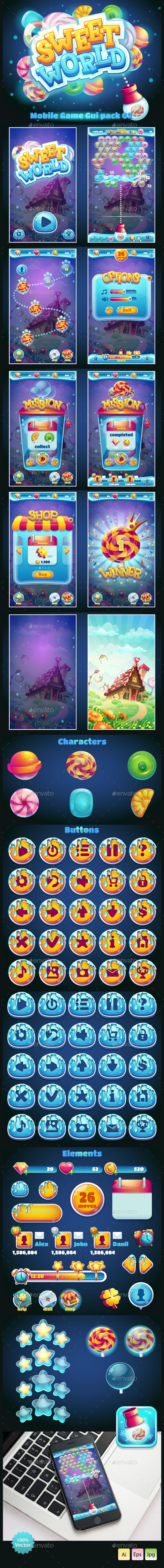 Sweet world candy shooter mobile GUI Template Vector EPS, AI Illustrator. Download here: http://graphicriver.net/item/sweet-world-candy-shooter-mobile-gui-/14873629?ref=ksioks