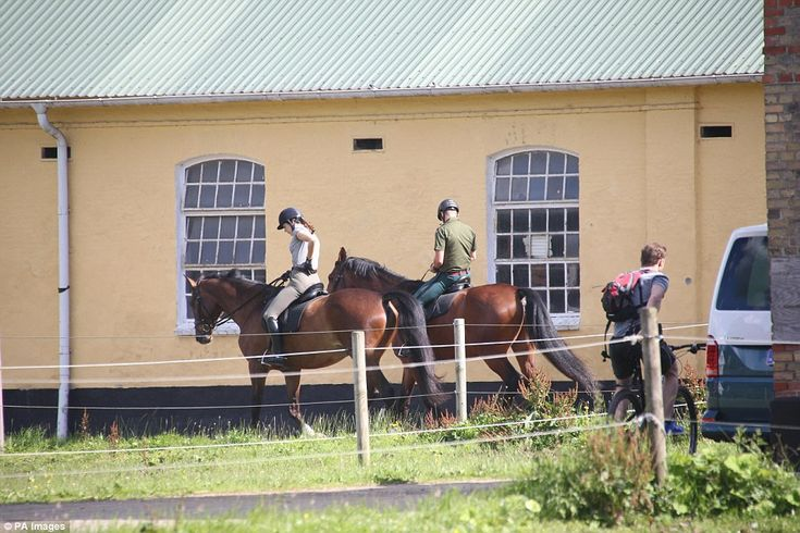 Out and about: After their ride, the group arrived at a horse riding school where Princess...