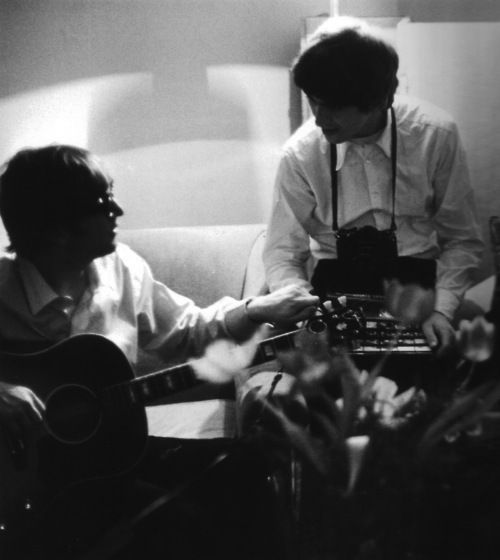 John Lennon and George Harrison, George V Hotel, Paris, 1964 from the book The Beatles The Illustrated Biography, Page 48