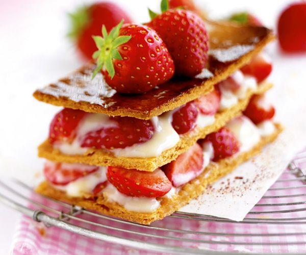 Dessert gourmand : Mille-feuille aux fraises