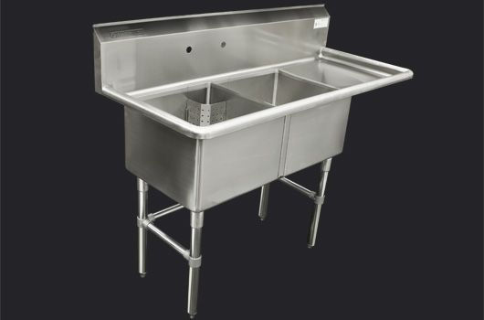 """Double 18"""" Stainless Steel sink with drainboard  Model: TDS-1818-R18. Also available in 24"""" model."""
