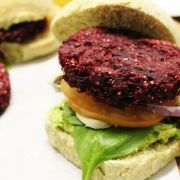 Beetroot, sweet potato and quinoa burger patties. Vegan