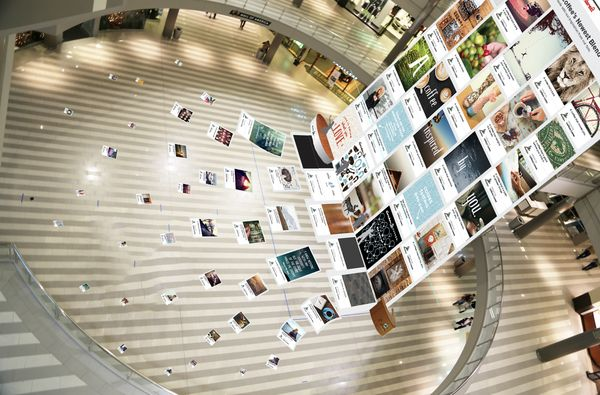 Caribou Coffee crowdsourced a new coffee blend using Pinterest, and built a 5 story Pinterest board in the Mall of the Americas to celebrate it.
