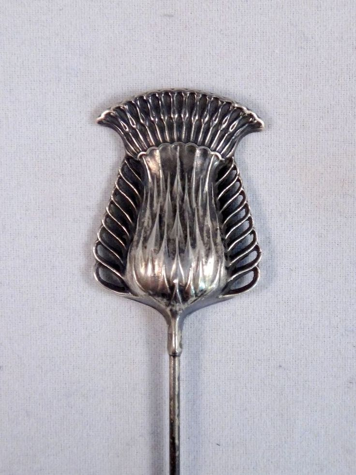 ANTIQUE STERLING SILVER HAT PIN BROOCH HATPIN ART NOUVEAU THISTLE & WOMEN