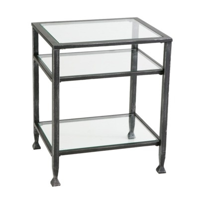 distressed metal end table: Side Tables, Livingroom, Metals, Living Room, Glass, End Tables, Black