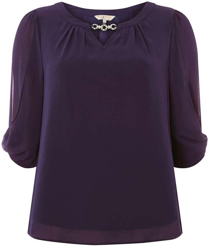 **Billie & Blossom Petite Purple Blouse