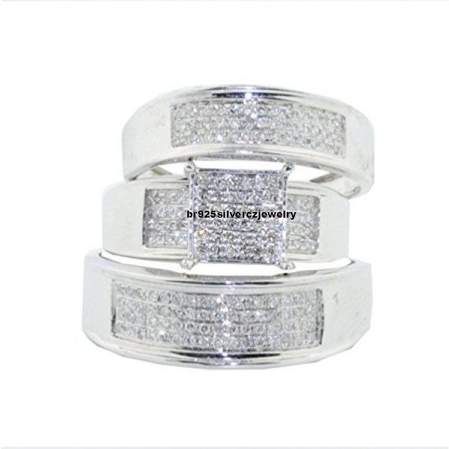 1.1/2cttw Round Diamond Trio Wedding Rings Set His And Her 14K White Gold Finish #br925