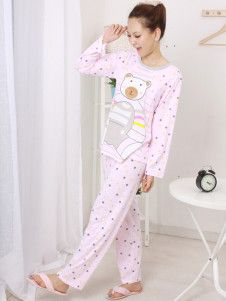 Pink Bear Pattern Polka Dot Cotton Maternity Sleepwear