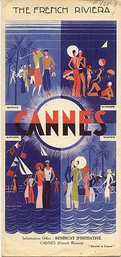"Travel brochure ""The French Riviera - Cannes,"" circa 1928.  Signed ""Louis Marie Eude.""  Published by ""Syndicat d'Intiative Cannes."""