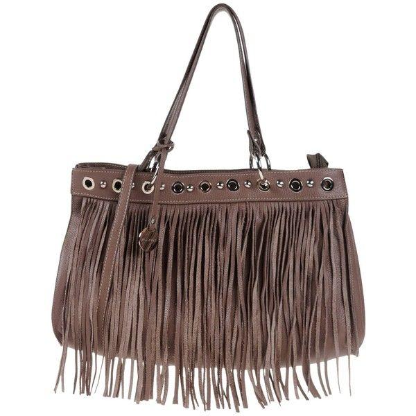 Pulicati Handbag ($215) ❤ liked on Polyvore featuring bags, handbags, light brown, leather doctor bag, leather fringe handbag, leather hand bags, doctor bag and leather man bag