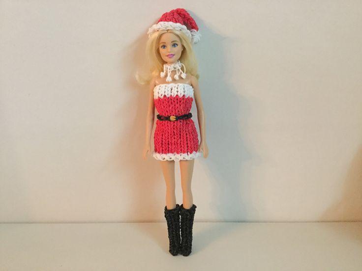 Rainbow loom noël de Barbie robe & collier  レインボールーム バービー人形のX'mas ドレス&首飾り