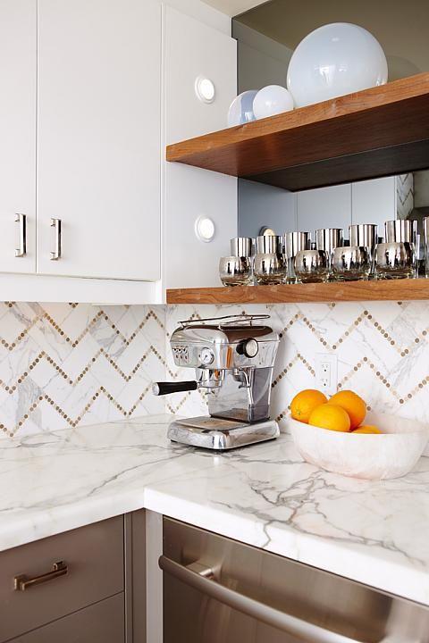 Sarah Richardson Design - kitchens - smoked mirror, smoked mirror backsplash, floating shelves, stained floating shelves, white cabinets, wh...