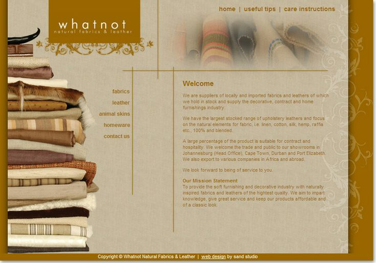 Interior and Exterior website design for Whatnot - natural fabrics & leather