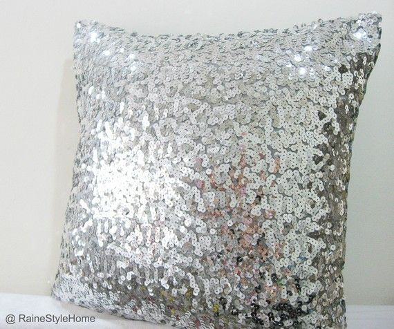 Silver Sequins Embellished Pillow Cover.
