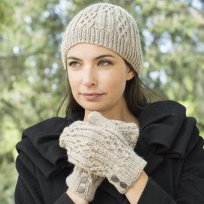 Cascade Yarns W640 Celtic Cable and Rib Beanie & Mitten ...