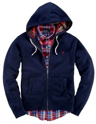 Polo Ralph Lauren Mens Big & Tall Plaid-Lined Full-Zip Hoodie: