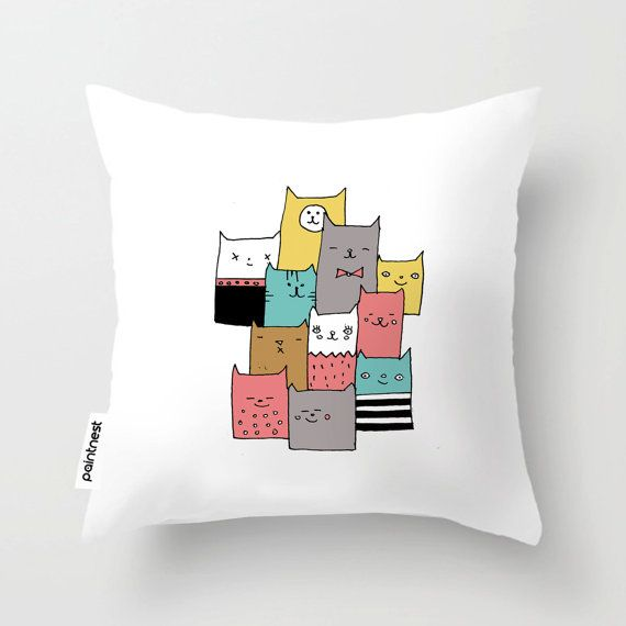 Colorful cat throw pillow cover/Personalized by Thepaintnest