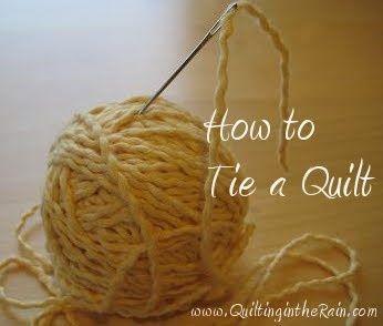 """How to tie a quilt. * jupp, schöne Sache, dickes Vlies nehmen und Garn nicht abschneiden beim """"heften""""."""