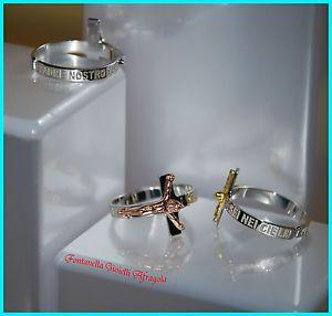 Anello con croce argento 925 rodiato con Cristo bianco dorato rosè