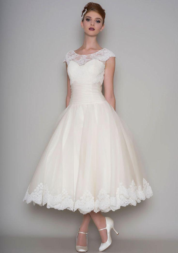 Illusion Cap Sleeves Classic Tea Length Ivory Lace Wedding Dress