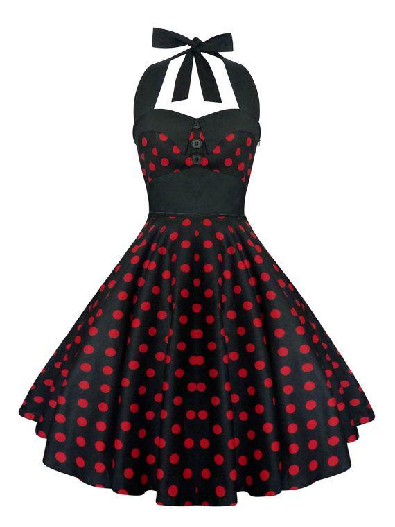 Rockabilly Dress Pin Up Dress Black Polka Dot por LadyMayraClothing