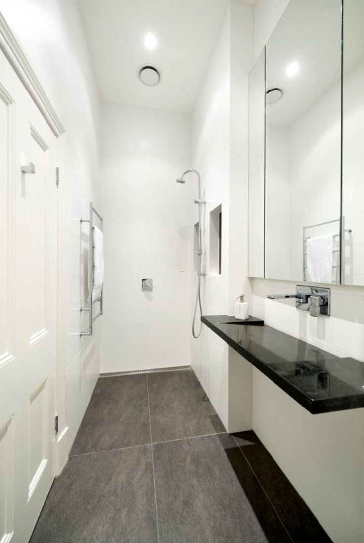 Small narrow Bathroom Layouts with Shower  Tiny Modern