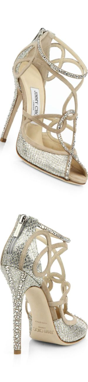 Jimmy Choo ~ Swarovski Crystal-Covered Suede Sandals, White