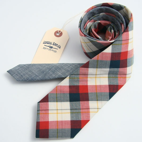 Bedford Plaid & Japanese Indigo Chambray Necktie - vintage ties handmade in the United States
