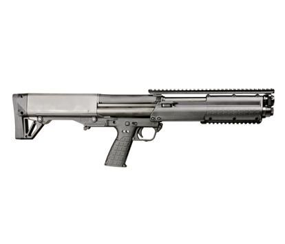 "The KSG (Kel-Tec Shotgun) is Kel-Tec CNC's first entry into the shotgun market. The size, shape, and design is similar to the currently available Kel-Tec RFB rifle, but the KSG ejects downward, instead of forward. The KSG weighs 6.9 lbs. and is as compact as legally possible with a 26.1"" overall length and an 18.5"" cylinder bore barrel. Even with this compact size, the internal dual tube magazines hold an impressive 12 rounds of 12 gauge 3"" rounds in total (6 per tube)."