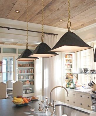 work area lighting. Big, Square Pendant Lights Are The Focal Point Of This Kitchen Island Work Area. Area Lighting