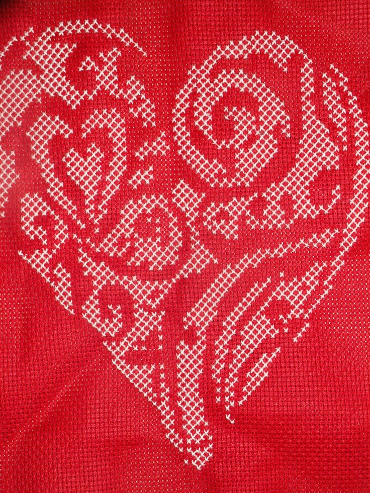 Howling at the moon: Cross Stitch Valentine's Heart
