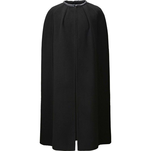 Carine Wool Blend Cape Coat (One Size) ($125) ❤ liked on Polyvore featuring outerwear, coats, black, cape coat, uniqlo coats, uniqlo, wool blend cape and wool blend cape coat