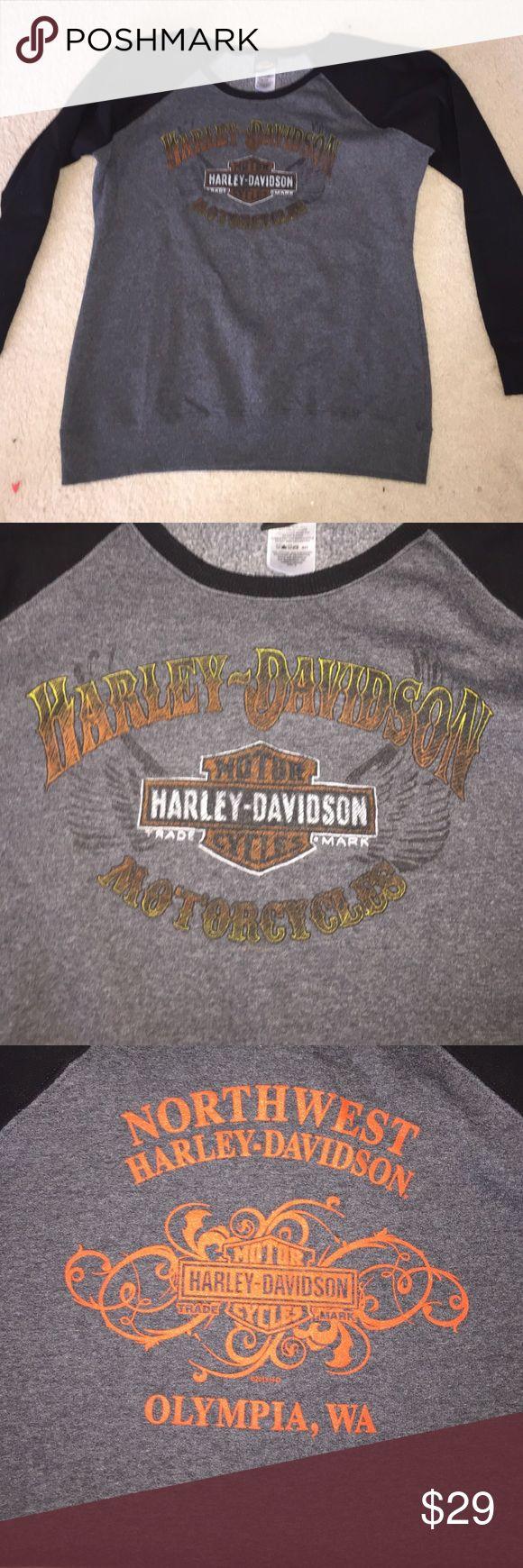 Harley Davidson sweatshirt Harley Davidson sweatshirt- front says Harley Davidson motor cycles and the back reads Northwest Harley Davidson Olympia Wa- is XL but may fit like large Harley-Davidson Tops Sweatshirts & Hoodies