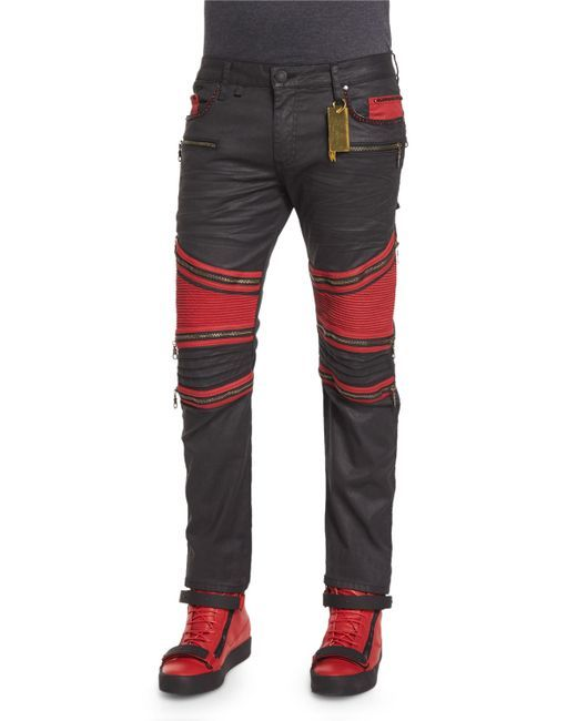 robin jeans for men | Robin's jean Racer Coated Moto Jeans in Red for Men (Black) | Lyst