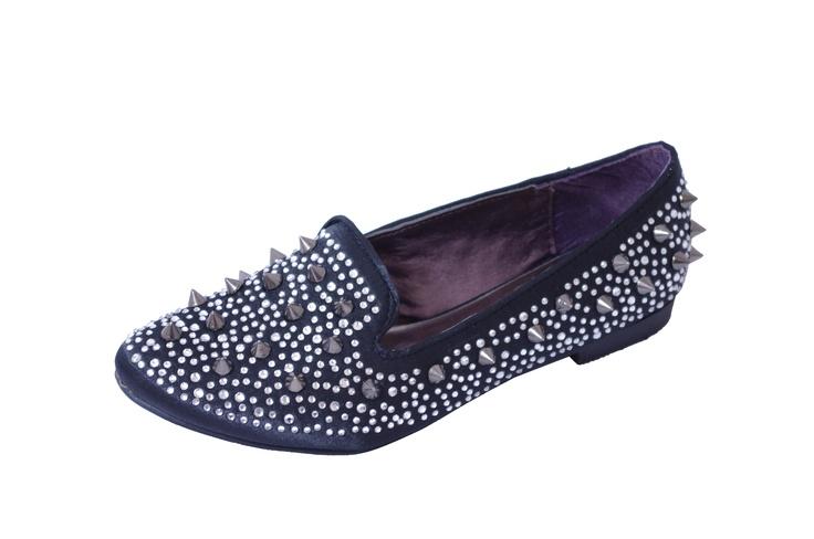 Black Satin Spike & Diamante Slipper Flats   Price: £6.00 http://www.riskyfashions.com/p/Black-Satin-Spike-andamp;-Diamante-Slipper-Flats_159.html