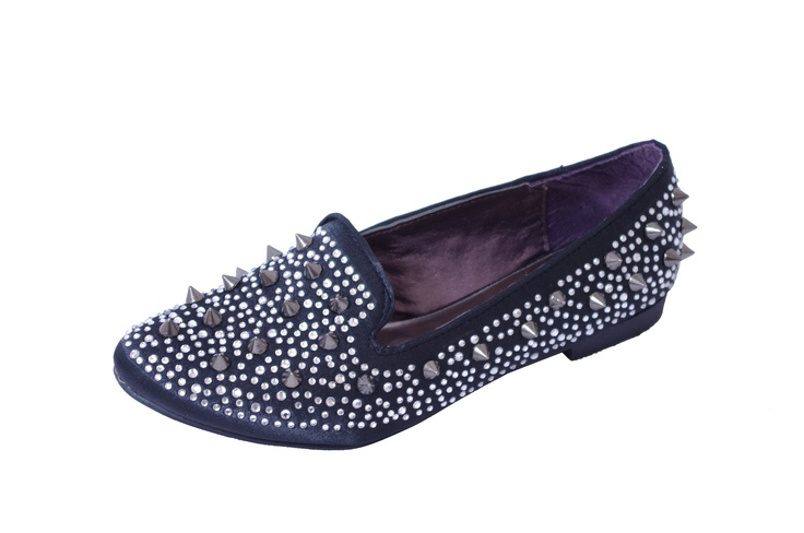 Black Satin Spike & Diamante Slipper Flats   Price: £6.00 http://www.riskyfashions.com/p/Black-Satin-Spike-andamp;-Diamante-Slipper-Flats_159.html