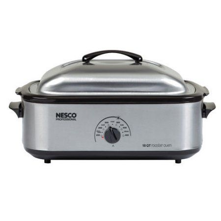 Nesco 22-Pound Turkey Roaster Oven, 18-Quart Capacity, Stainless Steel, Silver